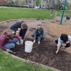 Lovelace Park Evanston IL park cleanup weeding high school volunteers.